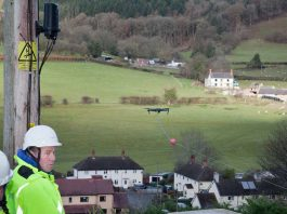 uso de drones para el tendido de fibra óptica