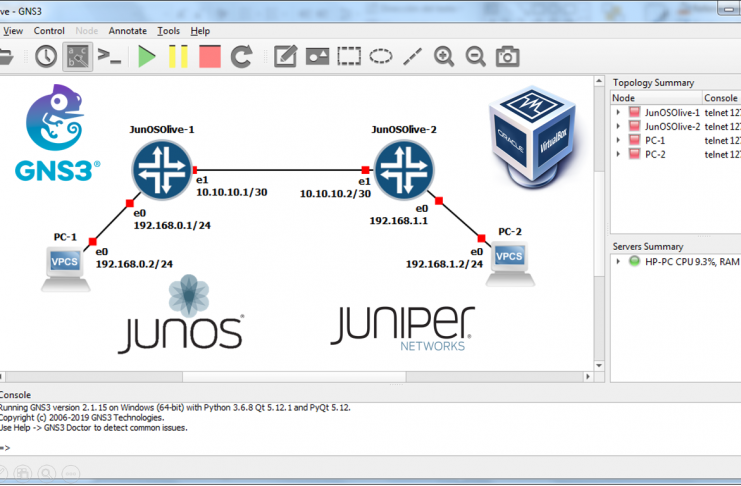 GNS3 Junos Juniper Olive VirtualBox